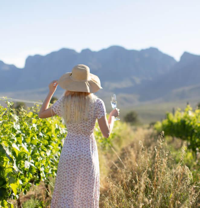 Blonde lady standing in the vineyards at Vergelegen