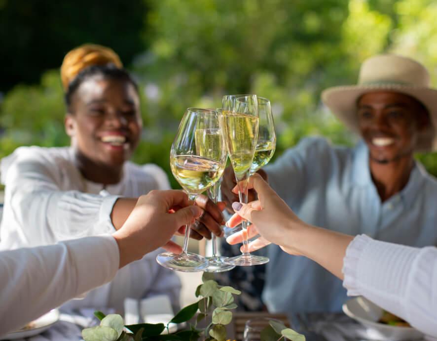 Customers at Vergelegen celebrating over a glass of wine