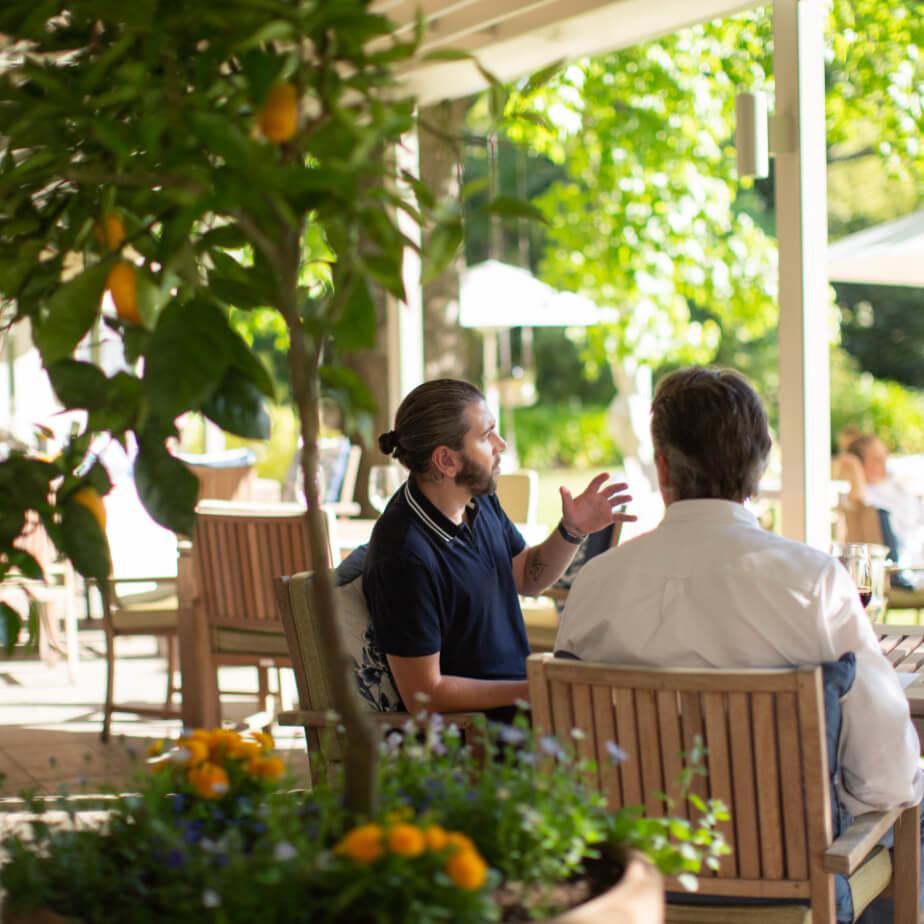 Customers at the Camphors restaurant at Vergelegen