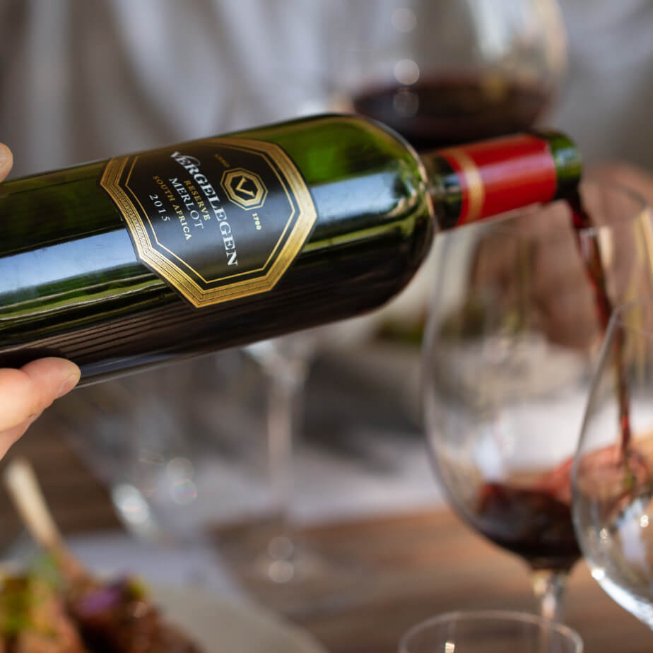 Vergelegen red wine being poured into a wine glass