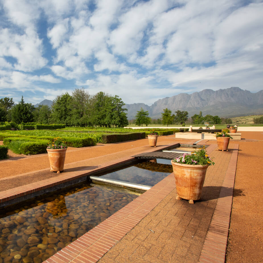 View of the Hottentots mountain range from the Stables restaurant